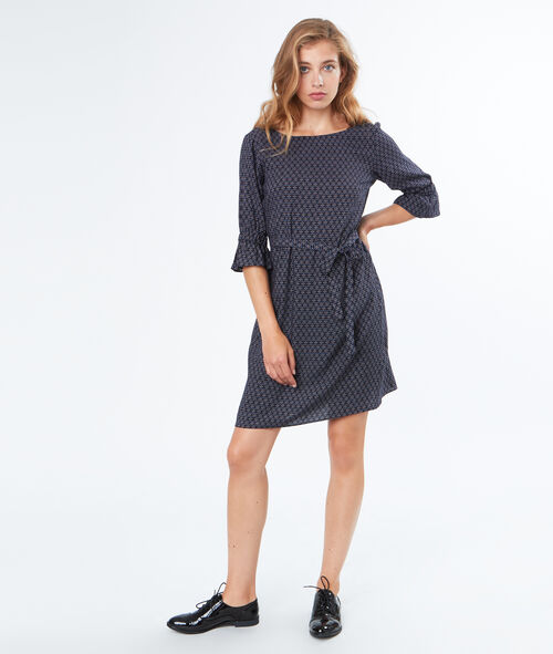 3/4 sleeves belted dress