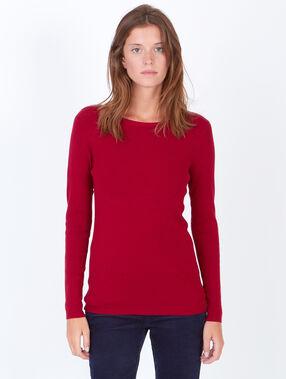 Long sleeve slash neck jumper carmine red.