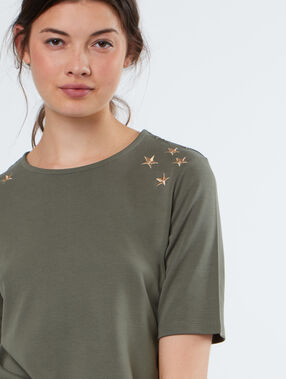 T-shirt with embroidered stars khaki.