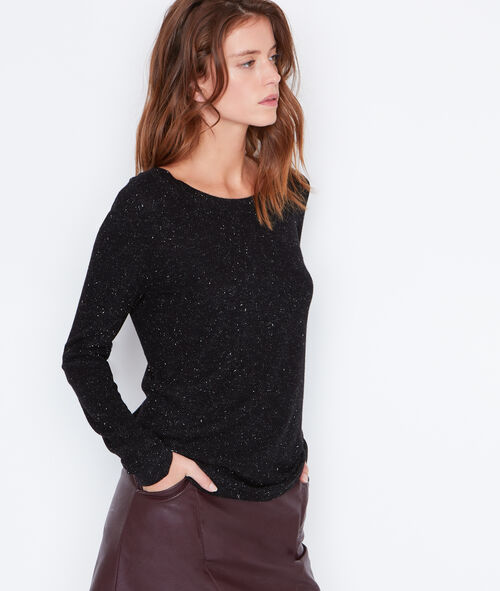 Glitter sweater with lace up back detail