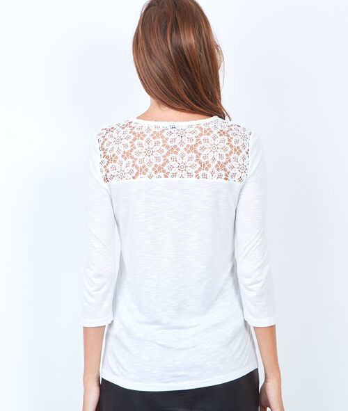 V-neck t-shirt with guipure insert
