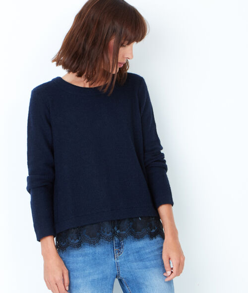 Knitted sweater with lace detail