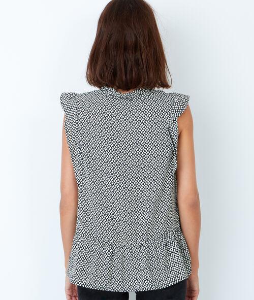 Sleeveless printed ruffle top