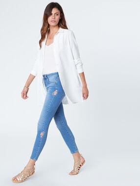Embroidered slim jeans denim.
