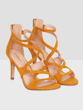 High heels sandals curry.