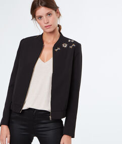 Chic jacket with strass black.