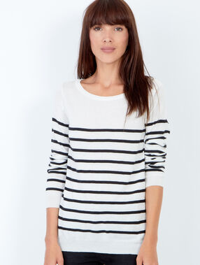 Striped long sleeve sweater white.
