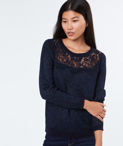 Sweater with lace yoke navy.