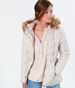 Quilted coat off-white.