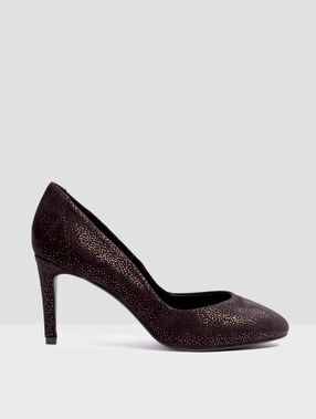 Heel court shoes glitter black.