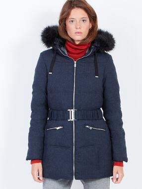 3/4 padded jacket with hood purple blue.