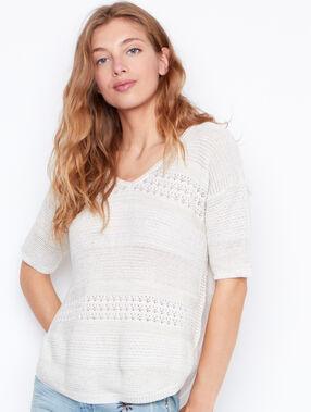 3/4 sleeves sweater ecru.