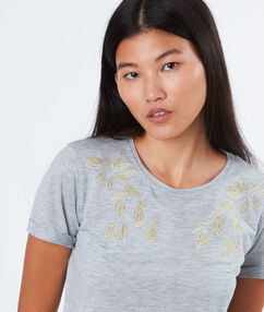 T-shirt with embroideries grey.