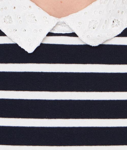 Striped top with Peter Pan collar