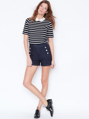 High waisted denim shorts raw denim.