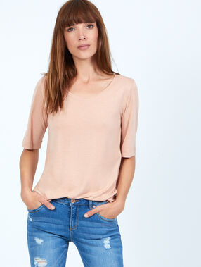 3/4 sleeve t-shirt rose poudre.