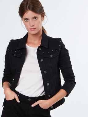 Cotton jacket with studs black.