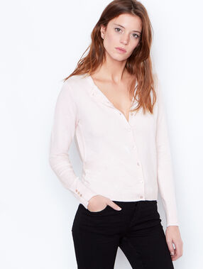 Round collar cardigan light pink.