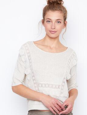 3/4 sleeves sweater beige.