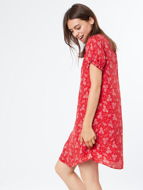 Flowing printed dress red.