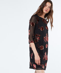 3/4 transparent sleeves dress black.
