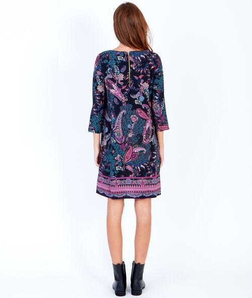 Cashmere print 3/4 sleeve dress
