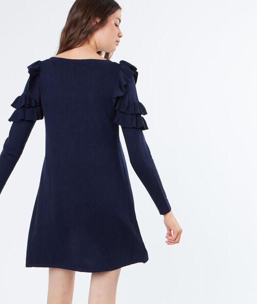 Layered sleeves sweater dress