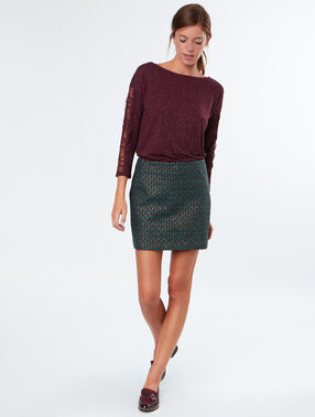 Lace sleeves top burgundy.