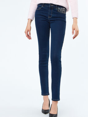 Jeans pocket with strass dark blue.