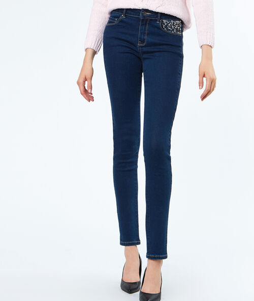 Jeans pocket with strass