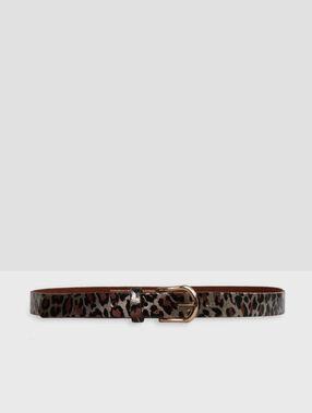 Leopard leather belt black.
