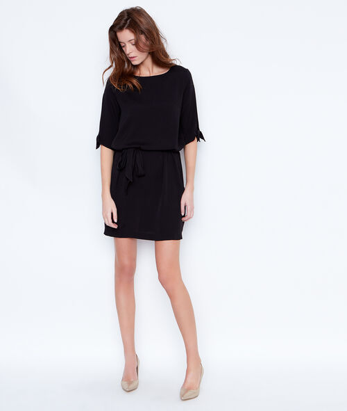 Belted dress with split sleeve
