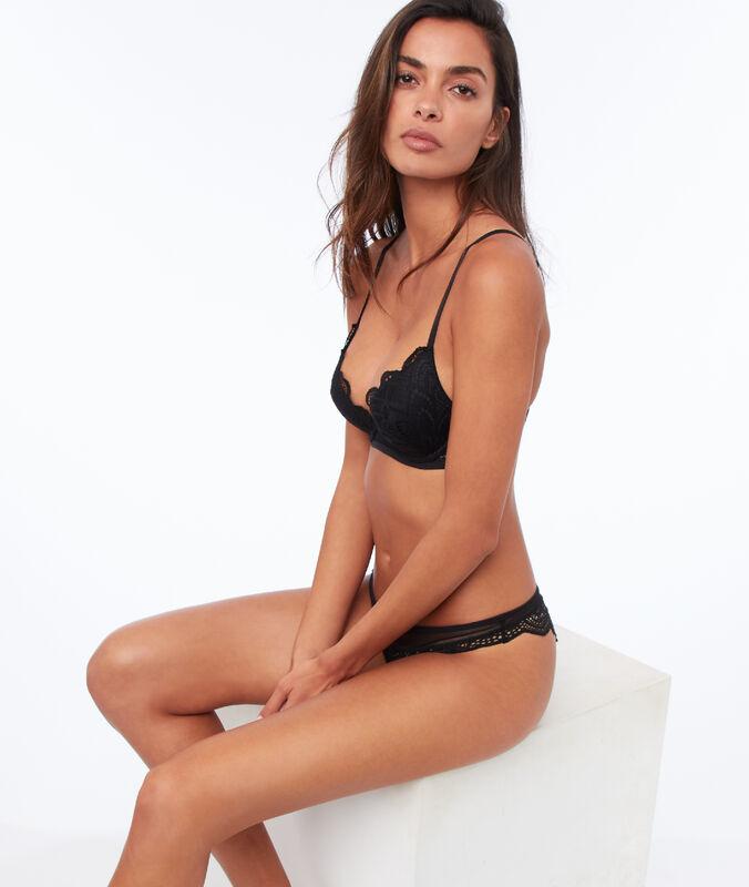 Bra no. 2 - lace plunging push-up bra black.