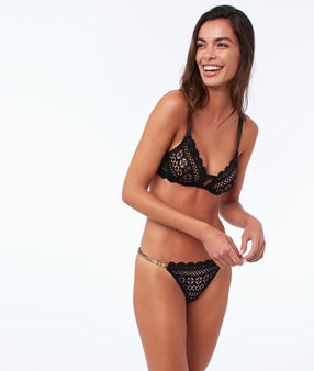 Lace thong, side ties black.