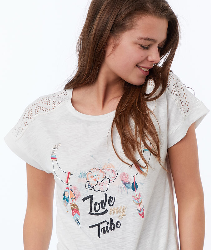 T-shirt con stampa etnica bianco.