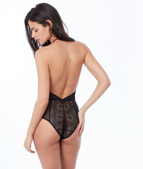 Indented bodysuit with lace and tulle