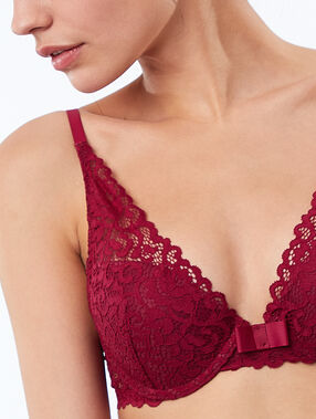 Bra no. 3 - lace triangle push-up bra plum.