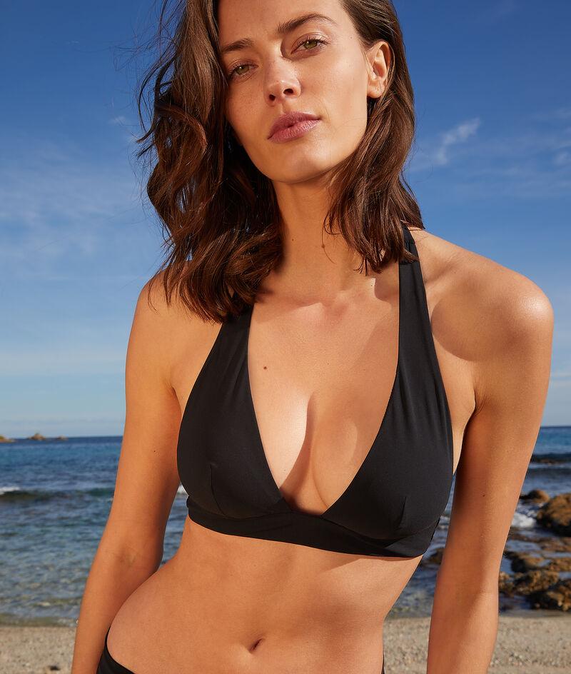 Wireless halter triangle bikini top;${refinementColor}
