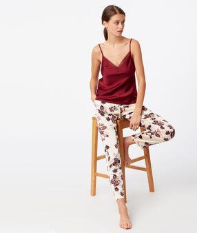 Pantalón de satén estampado floral crudo.