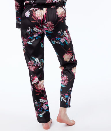 Floral print satin trousers black.