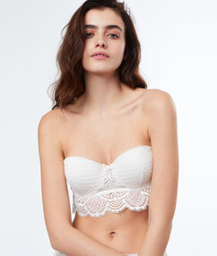 Padded bandeau bra off-white.