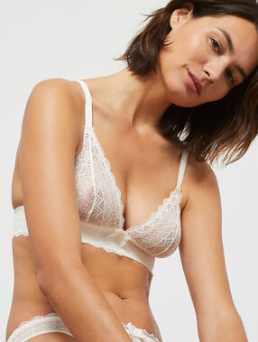 Lace triangle bra off-white.