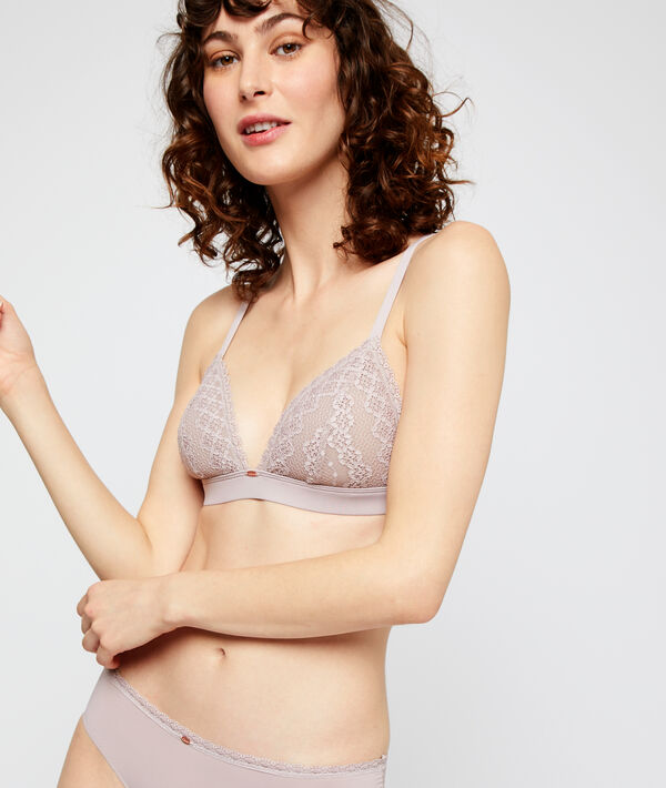 Non-wired lace triangle bra;${refinementColor}