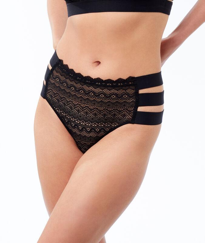 Lace high-waist briefs, 3 bands black.