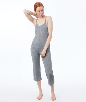 Mottled knit onesie gray.