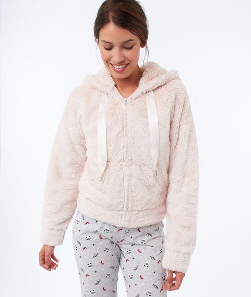 Faux fur homewear jacket