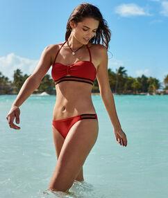 Bikini bottom with fancy strip red.