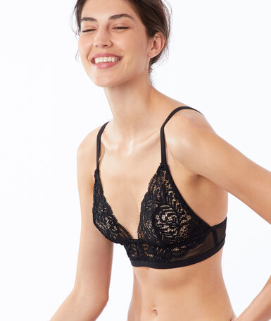 Triangle bra in floral lace, mesh details black.