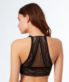 Triangle bra with underband and racer back black.