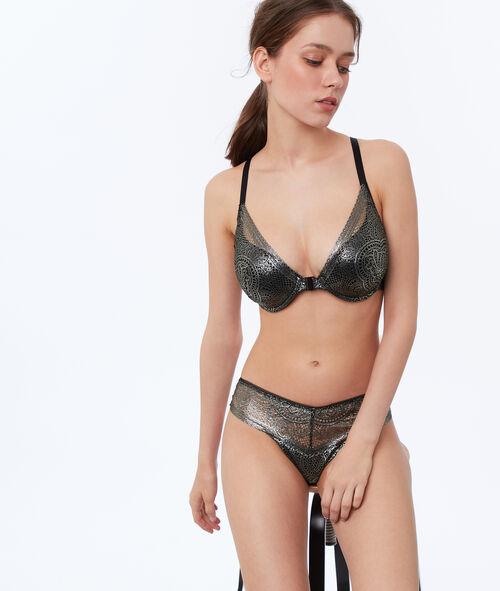 Shiny lace tanga brief